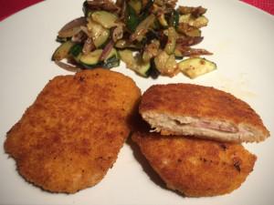 Vegetarische Mühlen Schnitzel Cordon bleu zubereitet