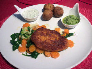 Vegetarische Mühlen Schnitzel klassisch zubereitet
