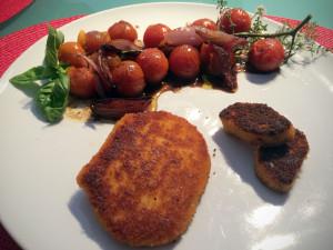 Vegetarische Mühlen Schnitzel Tomate Paprika zubereitet