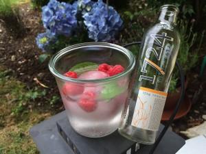 Gin Tonic mit Himbeeren