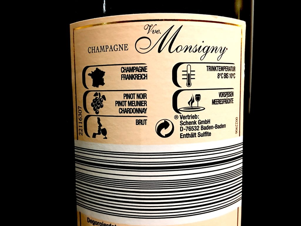 champagneChampagner Veuve Monsigny Brut Etikett hinten