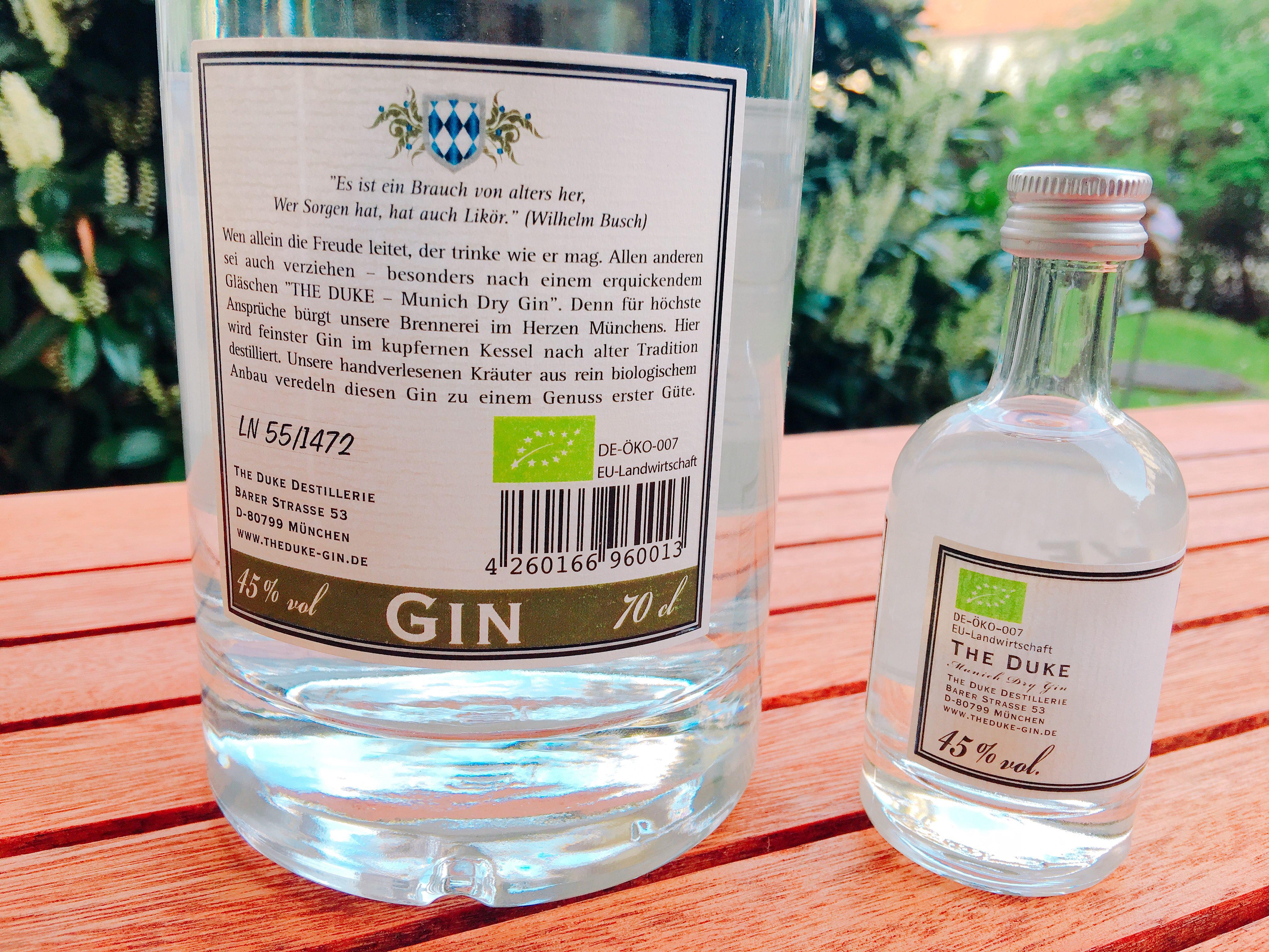 The Duke Munich Dry Gin Etikett hinten