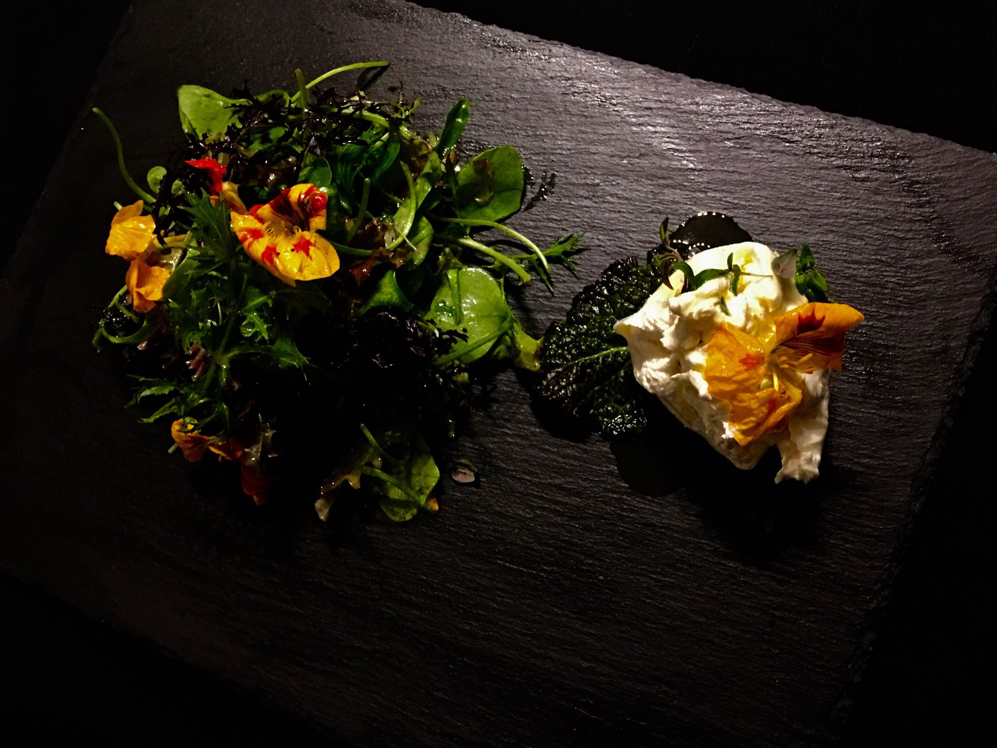 Herbstsalat mit Portulak, Blüten und Burrata and Orangendressing